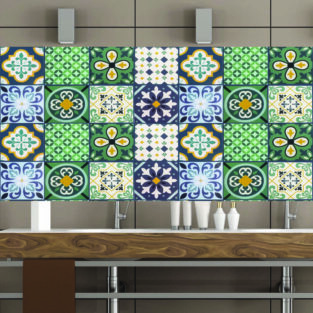 Green Blue and Grey Textured Tile Stickers BlessedFriday.pk