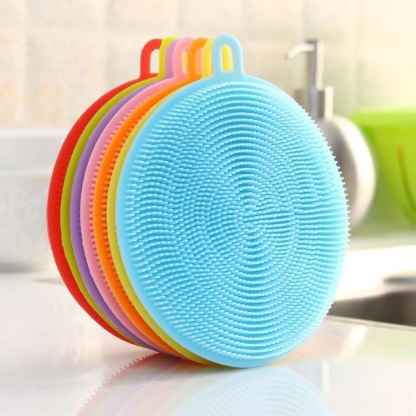 silicone sponge with scraper for dishwashing
