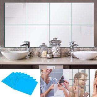 self adhesive wall sticker tile square mirror