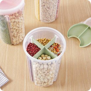food storage airtight container jar with 4 sections