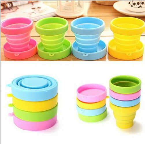 collapsible silicone cup with lid