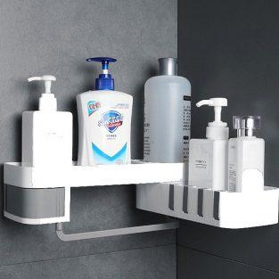 white plastic wall mounted bathroom shelf
