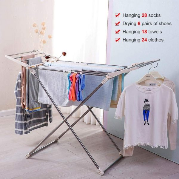 foldable expandable clothes drying rack